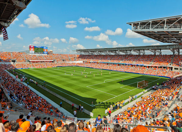 BBVA Compass Stadium grandstand seating and aluminum bleacher closure system seating stadium project.
