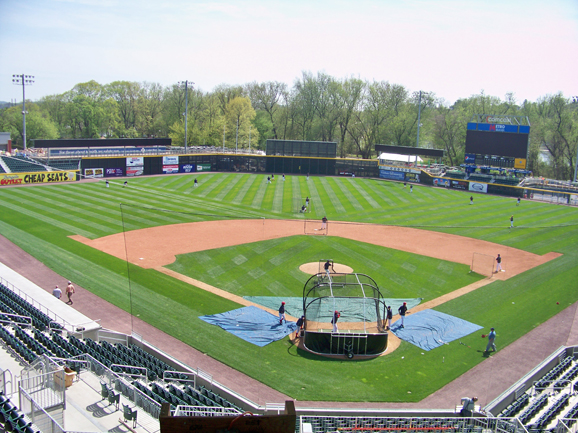 Bird's eye view of Metro Bank Park from the grands