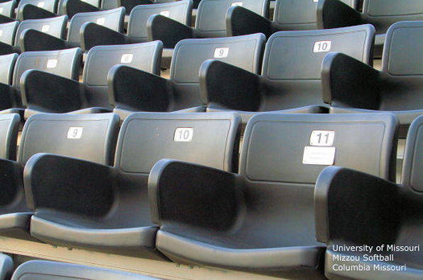 Close-up view of the stadium chairs installed by D