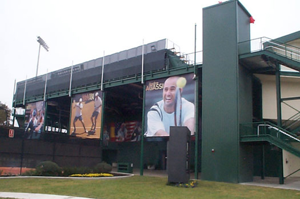 Outside view of the grandstand structure at the We