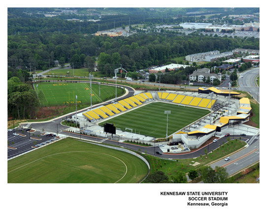 Ariel view of Kennesaw State University Soccer Sta