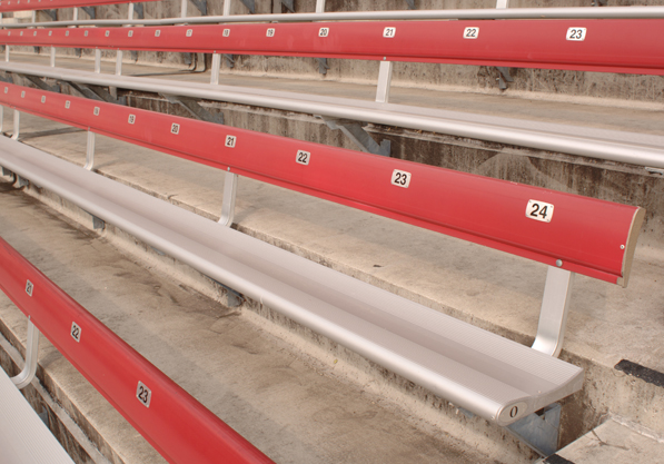 Close-up of aliminum bleachers installed by Dant C