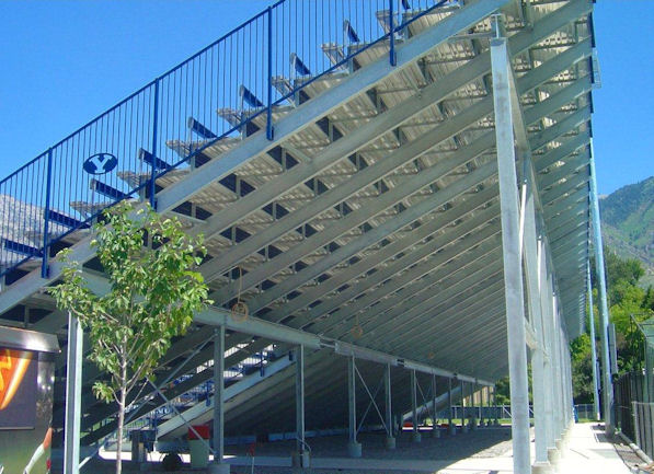 View of aluminum risers as part of the grandstand