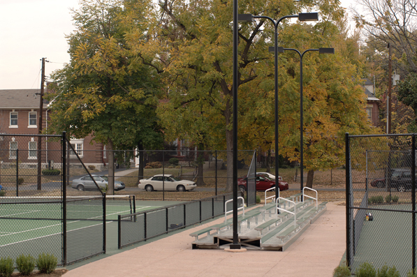 Aluminum bleacher seating at the tennis center in