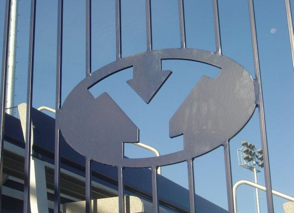 Brigham Young University logo rail system installe