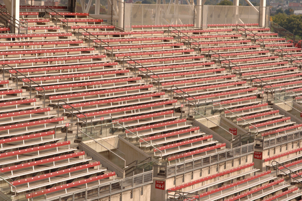 View of outfield bleachers with backrests at the G