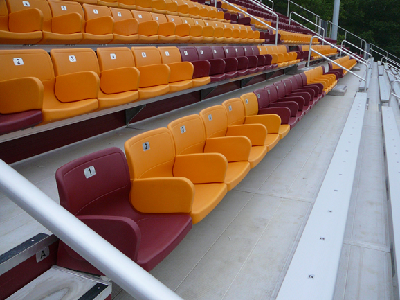 Close-up view of the stadium seats installed by Da