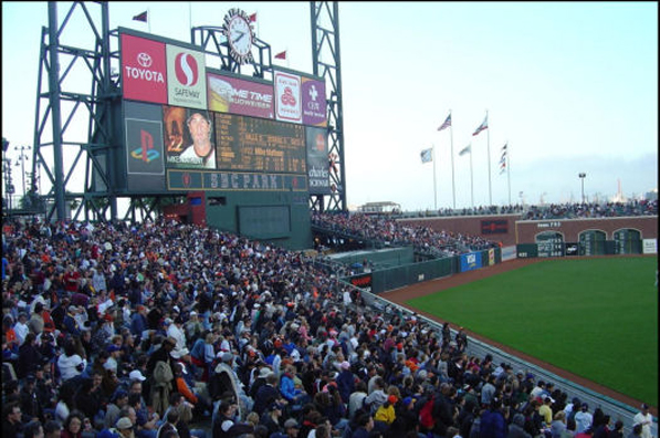Fans in the outfield bleacher seats at AT&T Park.