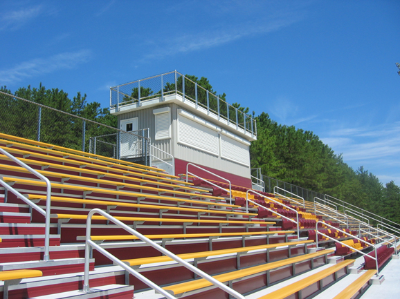 Outdoor bleacher seating at Central Regional High