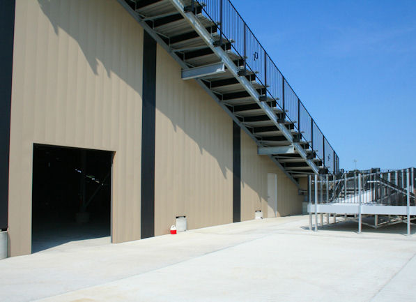 Side view of the grandstand at Cape Central High S