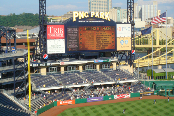 Outfield bleacher seating at PNC Park, home of the