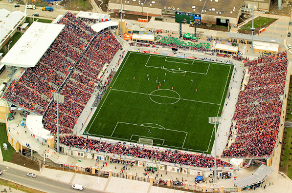 Ariel view of BMO field and grandstand seating.