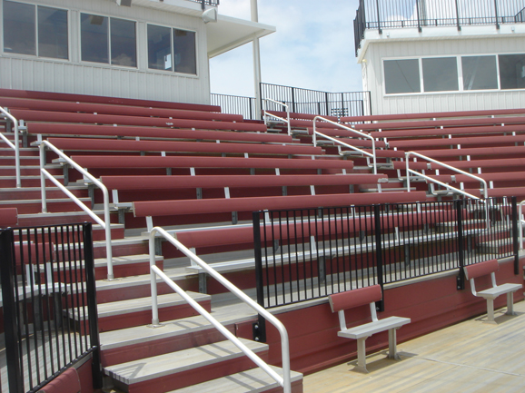 Aluminum bleacher seats with backrests at Tech Sof