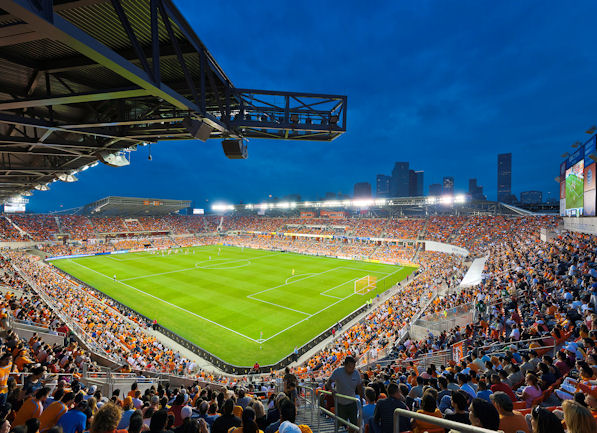Evening view of BBVA Compass Stadium where Dant Cl