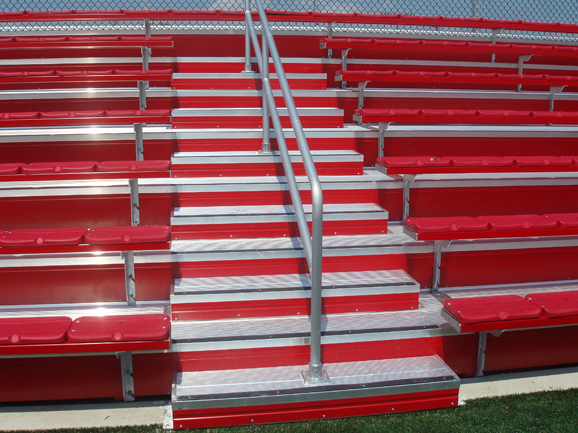 Welded deck system and bleacher seating installed