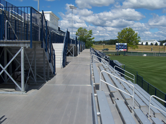 Close-up view of grandstand cross aisles and bleac