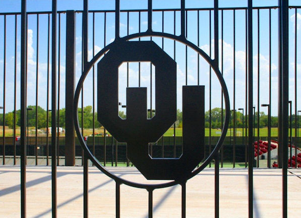 University of Oklahoma logo rail system at John Cr