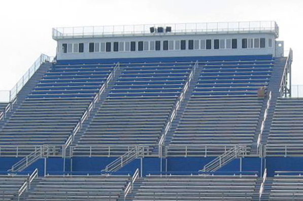 Grandstand outdoor bleacher seating at St. X High
