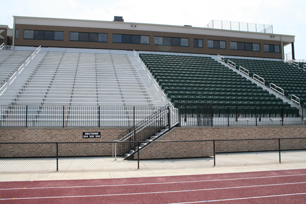Press box and alum-a-stand bleachers installed by