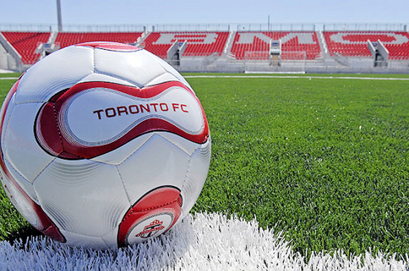 Toronoto FC soccer ball with BMO Field grandstand