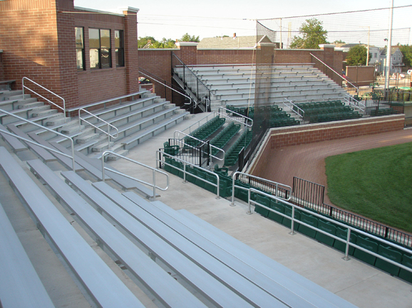 Outdoor bleacher and stadium chairs at Oil City St