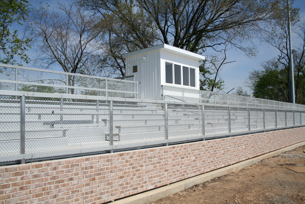 Visitor side press box and bleacher seating at St.
