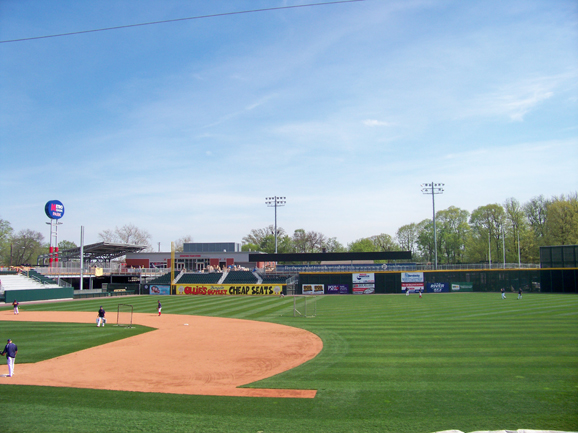 View of outfield grandstand seating at Metro Bank
