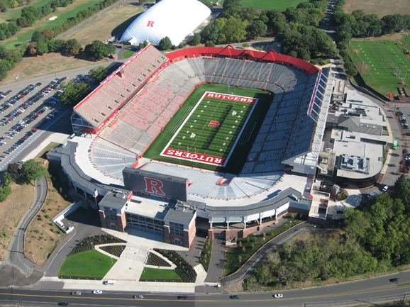 Arial view of Rutgers Stadium at Rutgers Universit