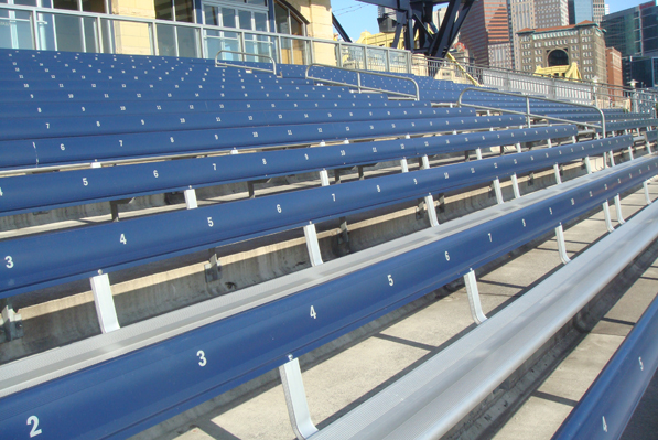 Close-up of aluminum bleachers with backrests inst
