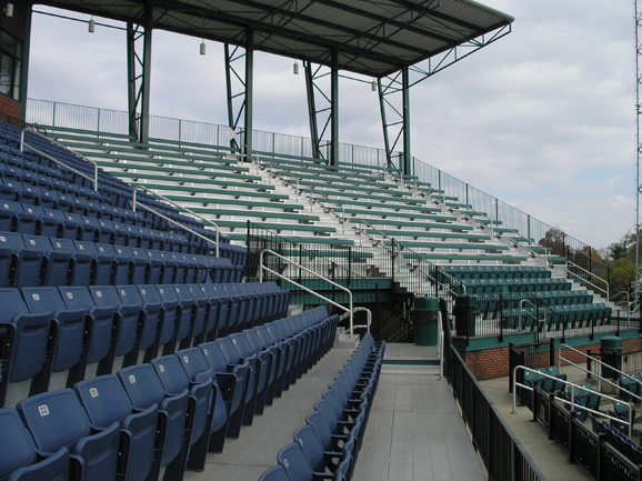 View of the stadium seats and outdoor bleachers in