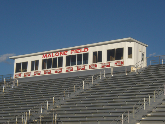Press box at Malone Field, Metamora High School's