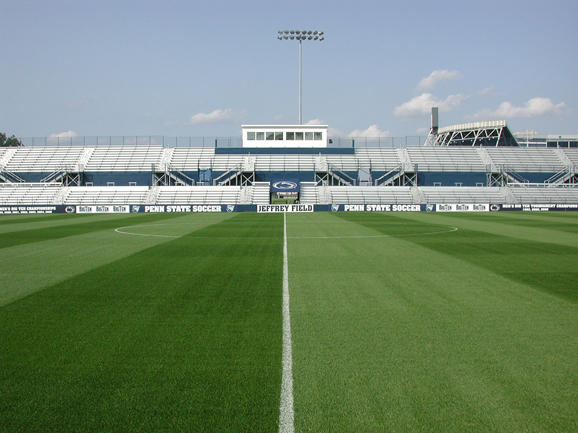 Wide view of bleacher seating at Jeffrey Field at