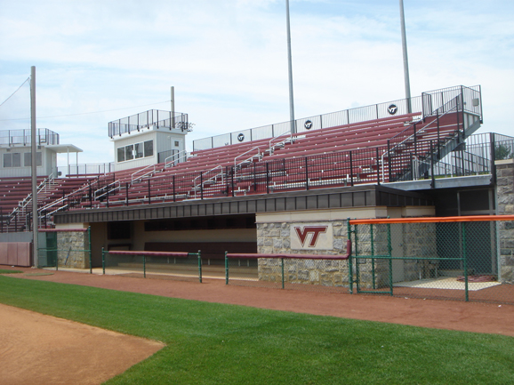 Outdoor bleacher seating at Tech Softball Park at