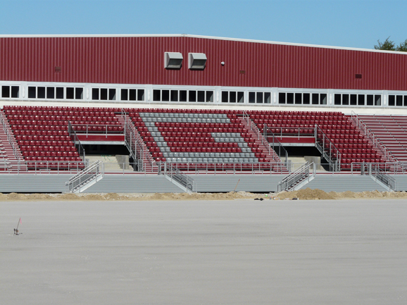 Grandstand structure and stadium chairs completed