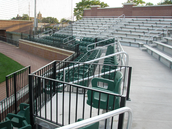Picket rail system and stadium chairs installed by