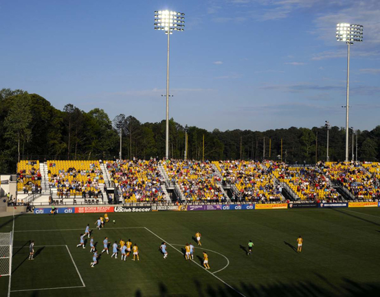 Soccer players and fans at the Kennesaw State Univ