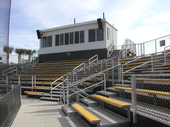 Aluminum bleacher seating and press box at UCF Sof