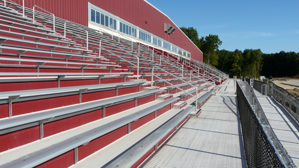 Outdoor bleachers at the Spire Sports Complex in G