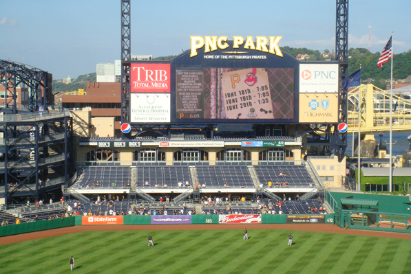 Outfield aluminum bleachers at PNC Park, installed